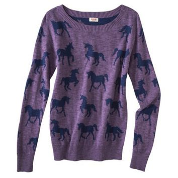 Mossimo Supply Co. Juniors Long Sleeve Unicorn Sweater - Purple