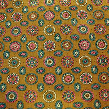 "1960s Fabric Cotton Green background Colorful Paisley and Dots 35"" wide"