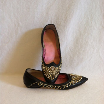 Black Leather Custom Made Jeweled Flats with Small Stacked Heel and Pink Satin Lined