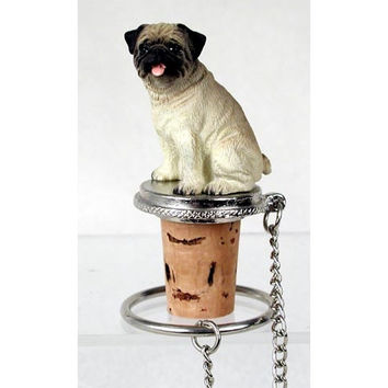 Pug Brown Wine Bottle Stopper