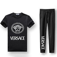 Boys & Men Versace Fashion Casual Shirt Top Tee Pants Trousers Set Two Piece