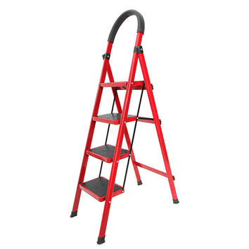 4 Steps Folding Aluminum Step Ladder With Long Handrail Rubber Feet Abs Plastic Joints Red