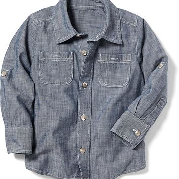 Old Navy Chambray Roll Up Sleeve Shirt