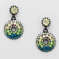 French Pave Rhinestone Double Drop Earrings GREEN MULTI