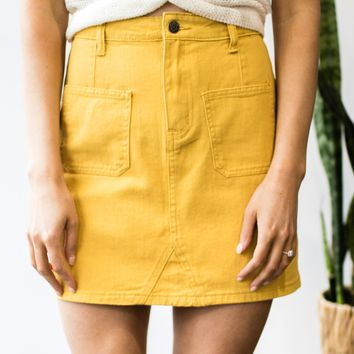 Front Pocket Denim Skirt