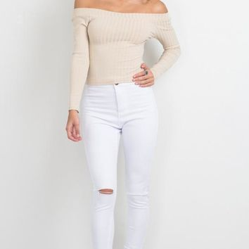 Pit Strapless Beige Long Sleeve Knit Shirt Women