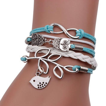 SIF Vintage Handmade Infinity Silver 8 Owl Leaf Bird Leather Bracelet Wristband New MAY 19 sterling-silver-jewelry
