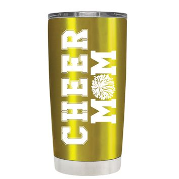 Pom Pom Cheer Mom on Translucent Gold 20 oz Tumbler Cup