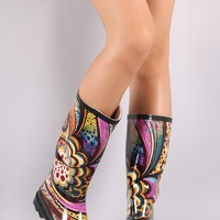 Colorful Artistic Print Knee High Rain Boots