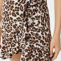 UO Leopard Ruffle Wrap Skirt | Urban Outfitters