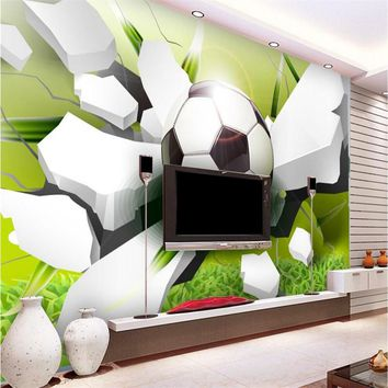 photo wallpaper photography Modern World Cup Football paper  broken wall living room sofa background 3d wall mural wallpaper