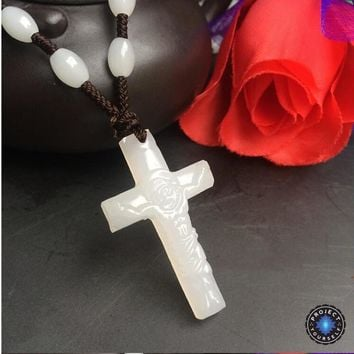 Natural White Jade Cross Pendant Necklace