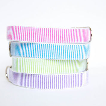 Seersucker Dog Collar - Your Choice of Color (19 options)