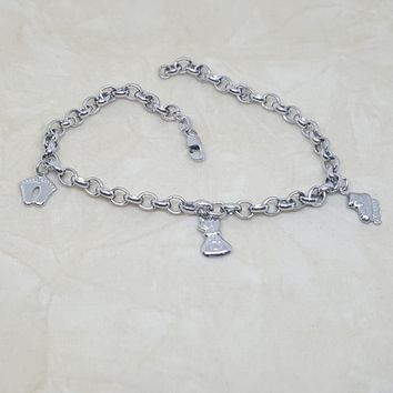 4-3303-h2 Stainless Steel Charms Anklet. 10""