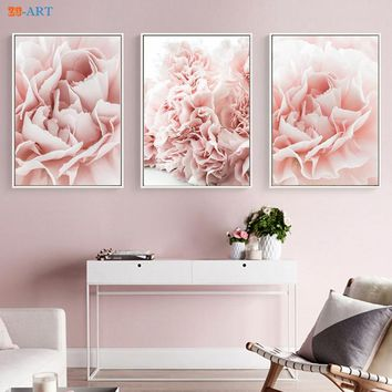 Blush Pink Flowers Prints Floral Poster Modern Canvas Painting  Large Wall Art  Living Room Home Decor Romantic Gifts