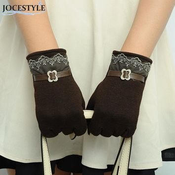 Solid Lace Gloves Women Girl Female Knit Gloves Hot Winter Warm Accessories Wool Gloves