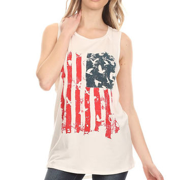 Women Sleeveless American Flag Pattern Print Camisole Tank Top