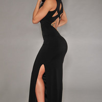 Black Back Cut-Out Back Maxi Dress with Side Slit
