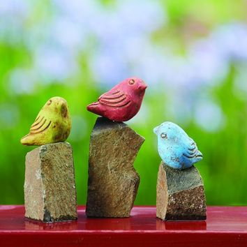 Mini Birds On Rocks Stone Statues, Assorted Colors - Set of 3