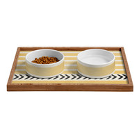 Allyson Johnson Yellow Stripes And Arrows Pet Bowl and Tray