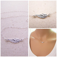 Angel Wing Necklace, Dainty Sterling Silver Necklace, Memory Necklace, Angel Necklace, Simple Necklace