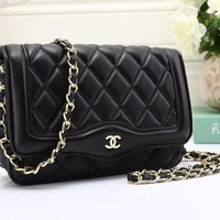 CHANEL Women Shopping Leather Metal Chain Crossbody Satchel