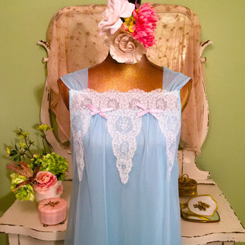 Vintage Blue Nightgown - 1960s French Lingerie - Paris Simonetta Fabiani - Nylon Chiffon - White Lace n Bows - Excellent Cond - Medium