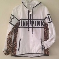 NWT Victoria's Secret PINK Anorak Pullover White/Cheetah Hoodie XS/S