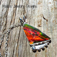 Sterling silver pendant with Ammolite gemstone and sterling silver chain necklace.