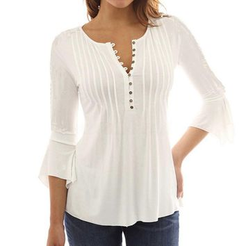 Quarter Length Blouse/ with Ruffles
