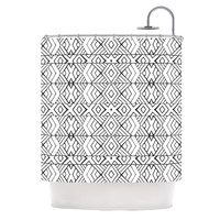 "Pom Graphic Design ""Tribal Expression"" Black White Shower Curtain"