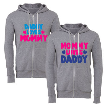 momy loves daddy daddy loves mommy matching couple zipper hoodie
