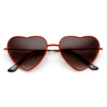 Womens Fashion Thin Metal Heart Shaped Sunglasses