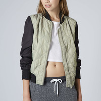 Quilted Contrast Bomber Jacket