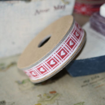 primitive CREAM HEARTS on Red fabric woven cotton blend ribbon