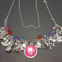 Vampire Academy themed tibetan silver charm necklace