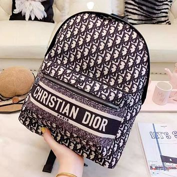 DIOR Newest Fashion Woman Canvas Backpack Daypack Bookbag