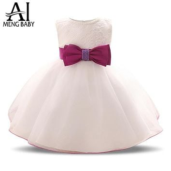 Ai Meng Baby Toddler Girl White Dress For Baptism 1 2 Year Birthday Gift Infant Kids Party Wear Dresses Girls Clothes Baby Frock