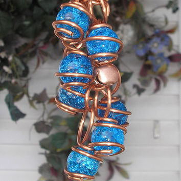 Aqua Hand Stamped Copper and Glass Gypsy Wind Chimes / Windchime Garden Art Suncatcher