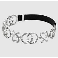 GUCCI Newest Popular Women Retro Chain Silks Letter Diamond Headwrap Headband Head Hair Band Necklace Accessories