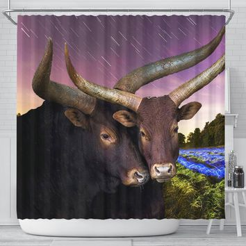 Ankole Watusi Cattle (Cow) Print Shower Curtains-Free Shipping