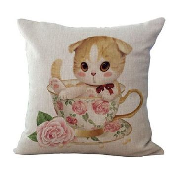 "18"" Cute Meows Cushion Covers"