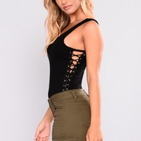 Emma Lace Up Tank Bodysuit - Black