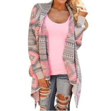 Hot Sale Kimono Cardigan Stylish 2016 Women Geometric Printed Long Sleeve Cotton Coat Knitted Poncho Tops Casual Blouse Shirt