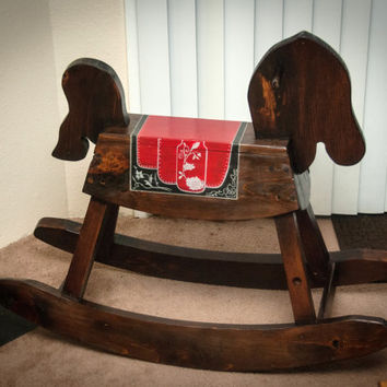 Wooden Rocking Horse Decorative Hand Painted for Children, Families, or Mother-to-be, horse themed kids room keepsake, baby nursery