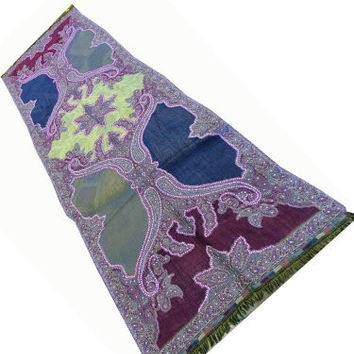 Pashmina Wrap Shawl Purple Paisley Sequin Embroidered Wool Stole
