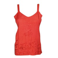 Mogul Women's Red Top Strappy Cami Tank Top Embroidered V Neckline Tank Tops S - Walmart.com