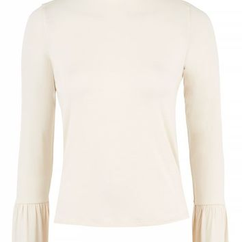 Long Sleeve Pie Crust Frill Neck Top