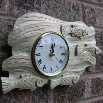 Wood carving, '' fish'' wall clock,Wood Art ,handmade,gift,Art4U-in stock