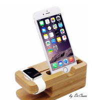Bamboo Holder Multi-Function Desktop Charger Stand for iPhone Apple Watch Stand